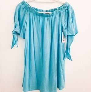 DO+BE Teal Blue Tie Blouse size Small NWT